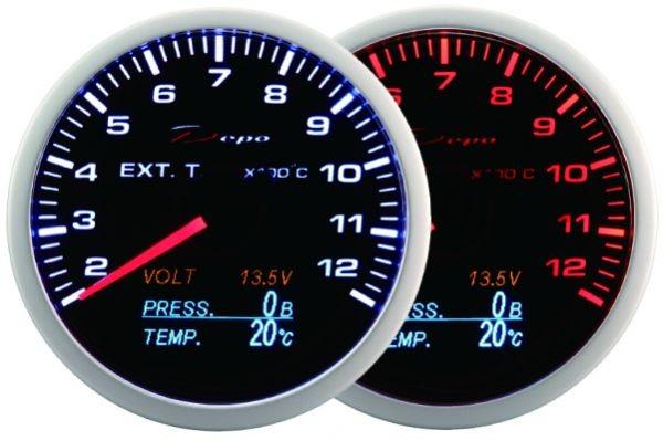 ZEGAR DEPO WA 60mm - 4w1 Exhaust Temp, Volt, Oil Press, Temp - GRUBYGARAGE - Sklep Tuningowy